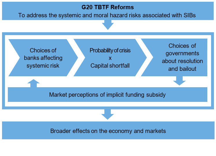 Overview of the building blocks of the evaluation of too-big-to-fail reforms